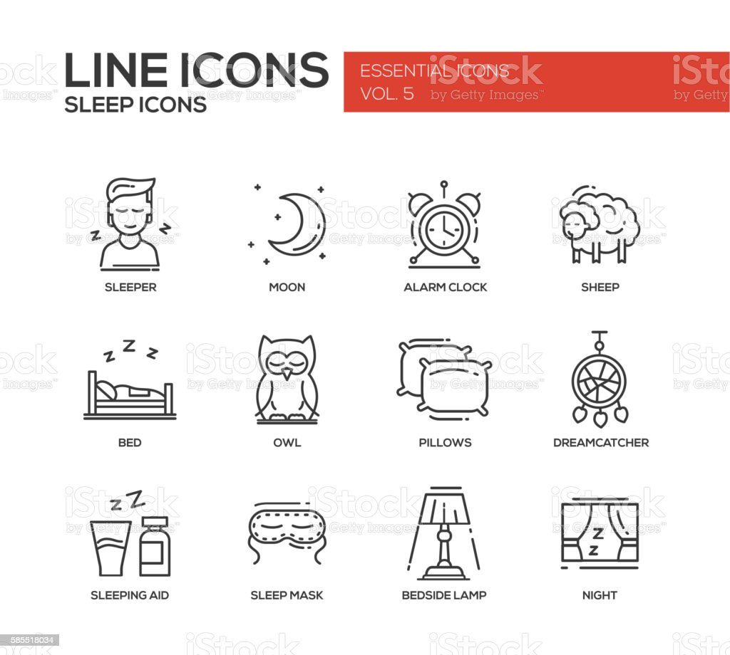 Sleeping - line design icons set vector art illustration