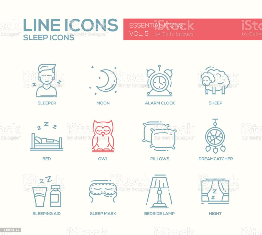 Sleeping - line design icons set vector art illustration
