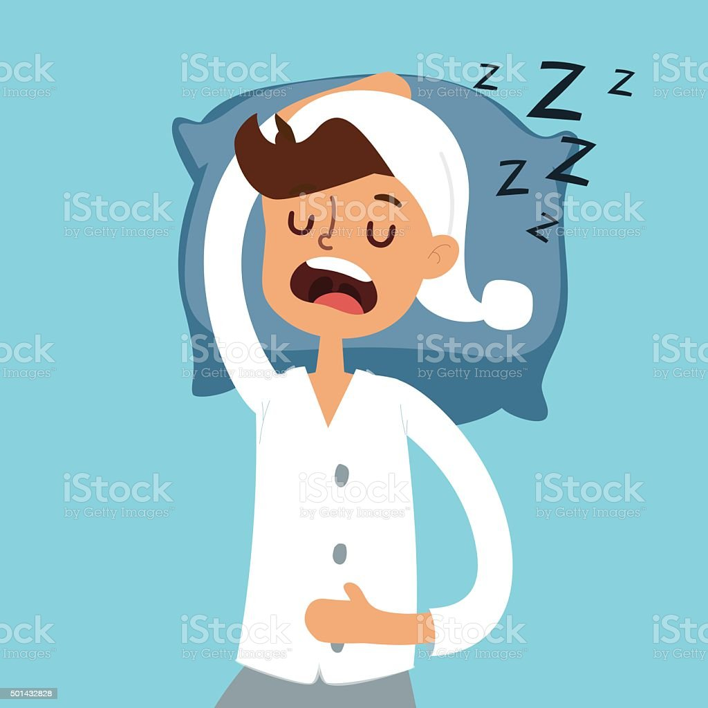 Sleeping man in bad vector illustration vector art illustration
