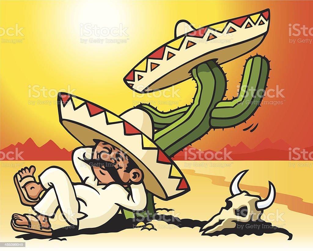 Sleeping Mexican vector art illustration