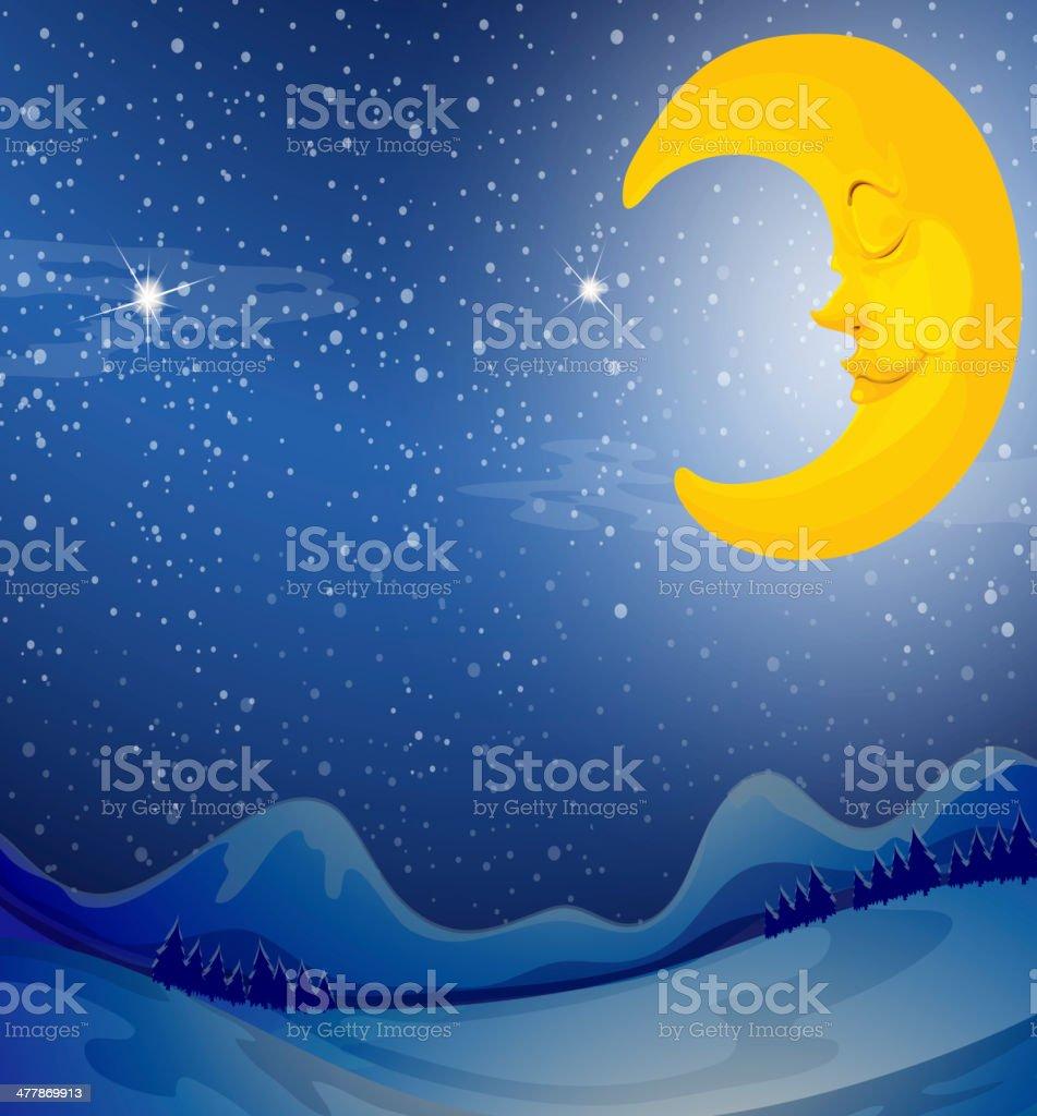 sleeping moon royalty-free stock vector art