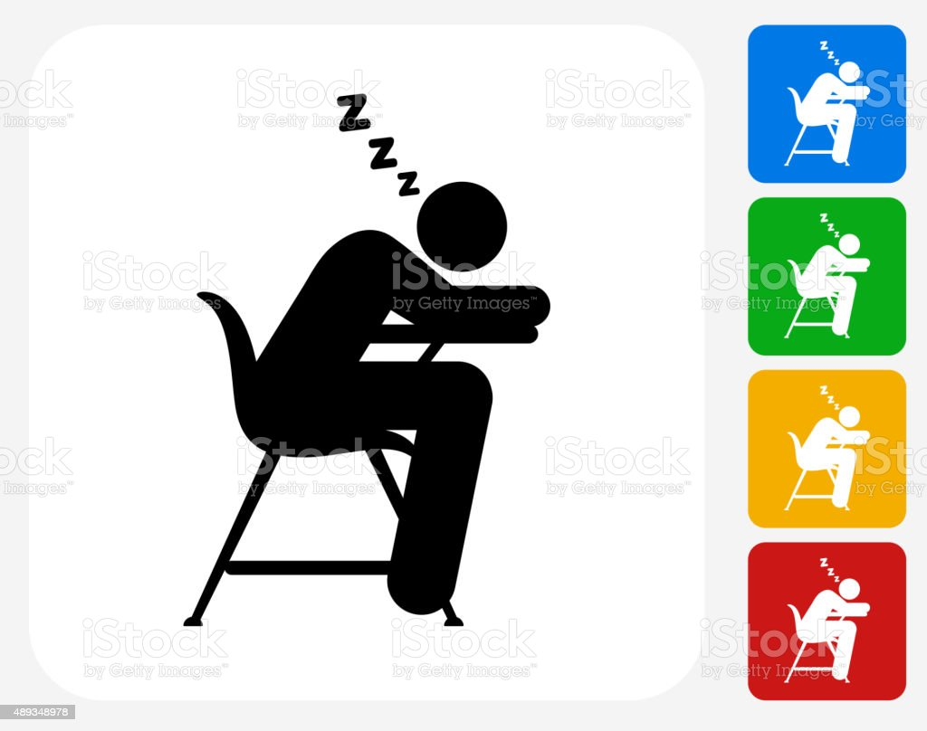 Sleeping on School Desk Icon Flat Graphic Design vector art illustration