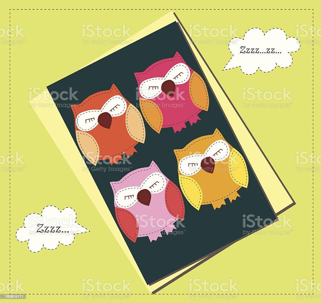 Sleeping owls card vector art illustration