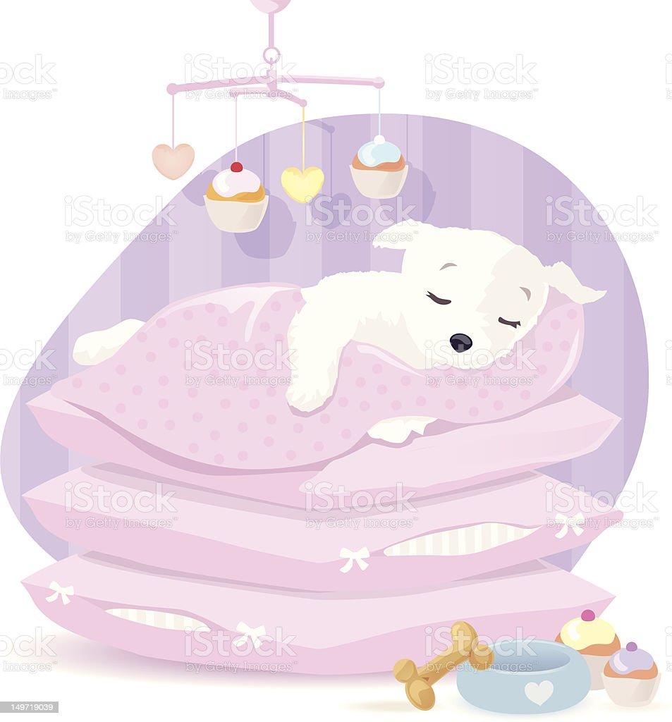 Sleeping Puppy royalty-free stock vector art