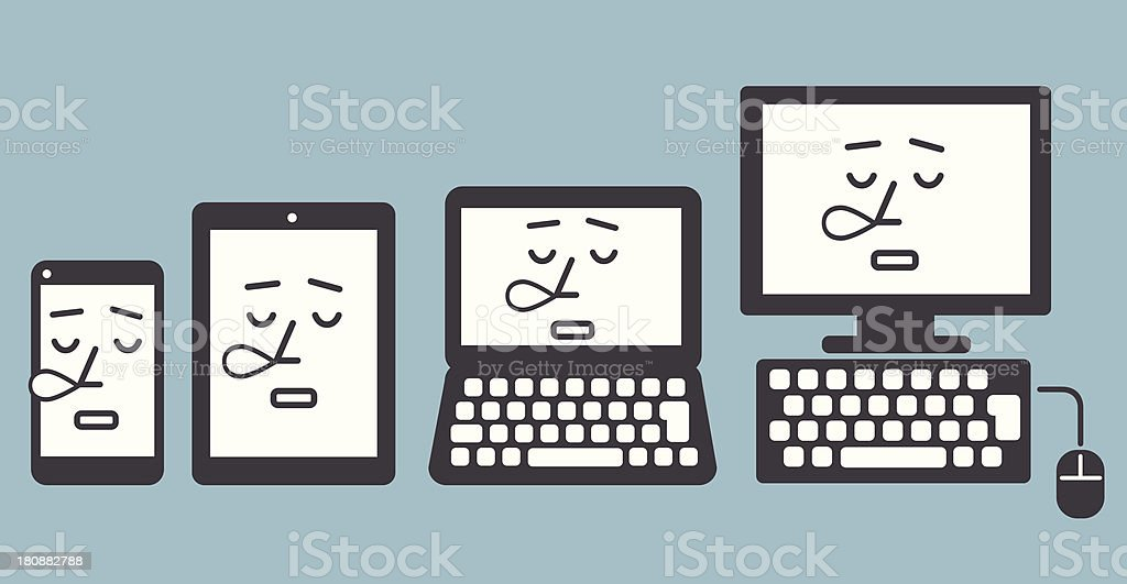 Sleeping smartphone, tablet pc, laptop and computer royalty-free stock vector art
