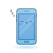 Sleeping smartphone vector icon. Kawaii blue cheerful mobile.