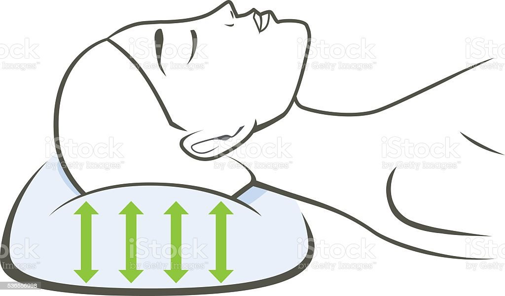 Sleeping with a good support pillow. vector art illustration