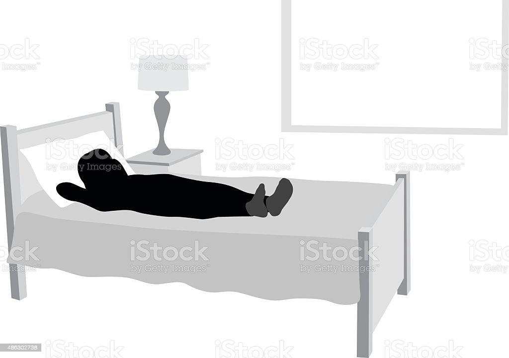 Sleepless Girl Lying In Her Bed vector art illustration