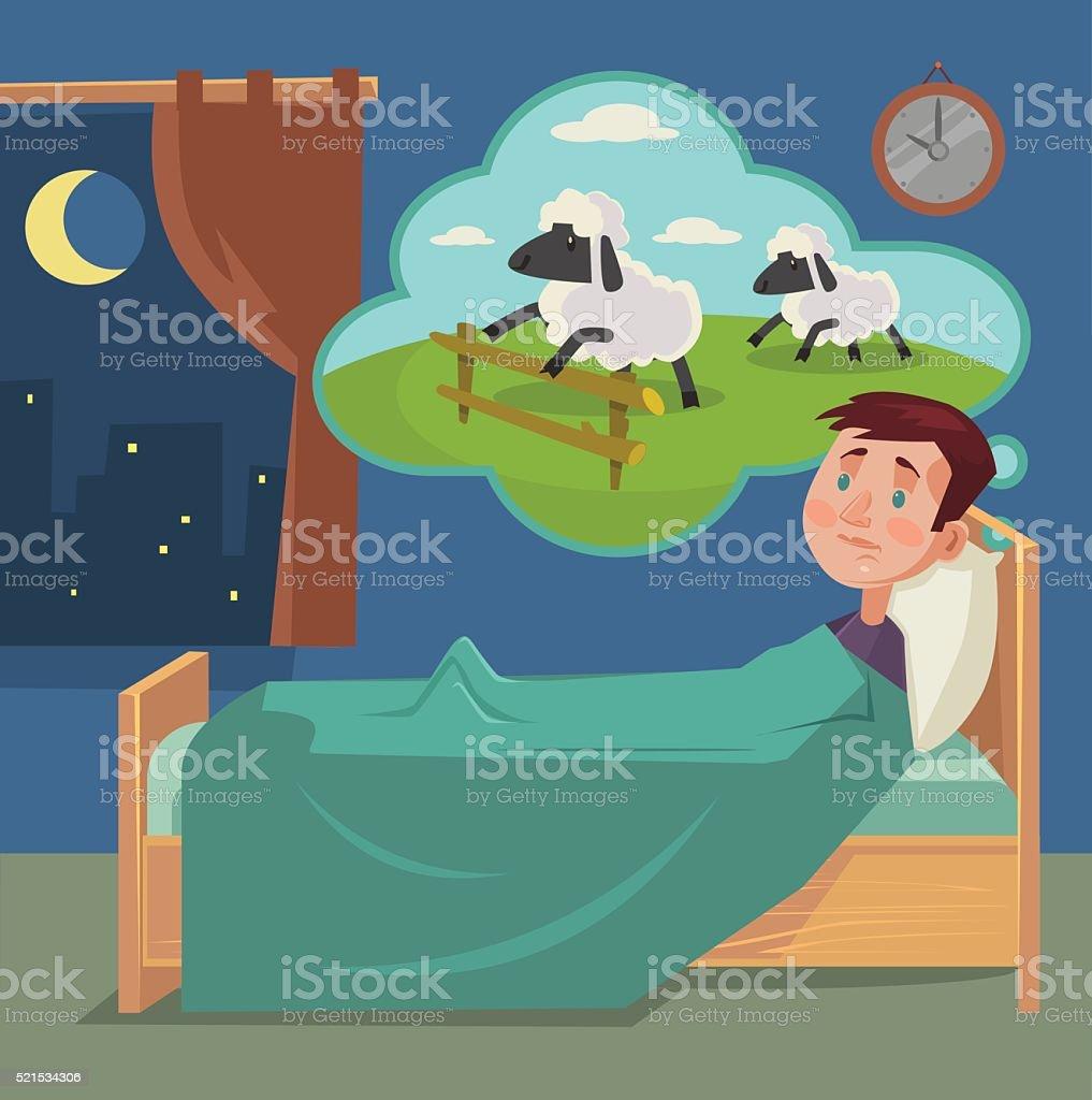 Sleepless man counting sheep vector art illustration