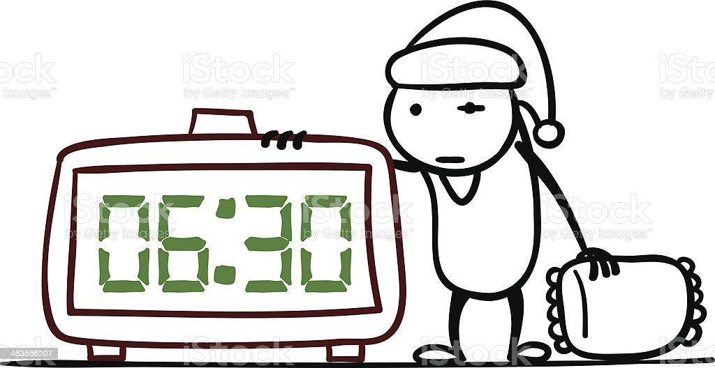 Sleepy Cartoon man with an alarm clock royalty-free stock vector art