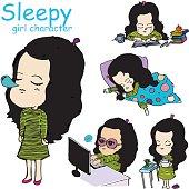 sleepy girl vector character