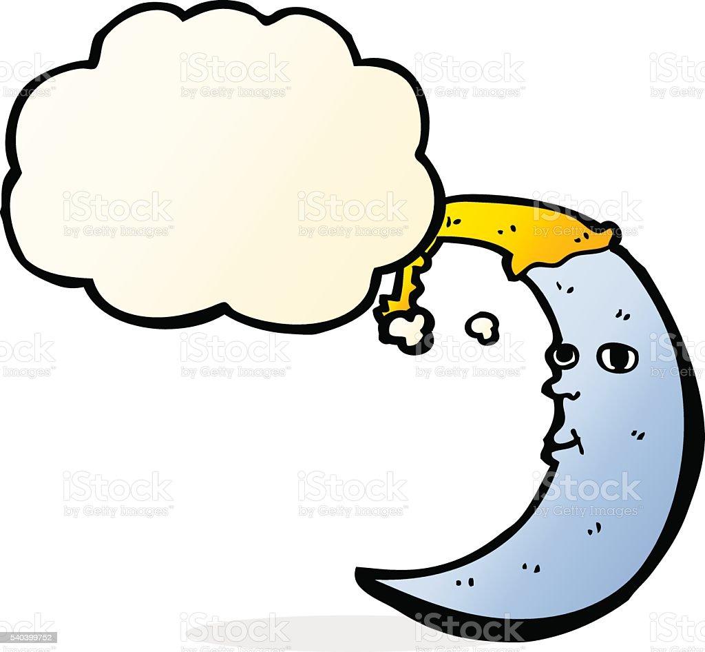 sleepy moon cartoon with thought bubble vector art illustration
