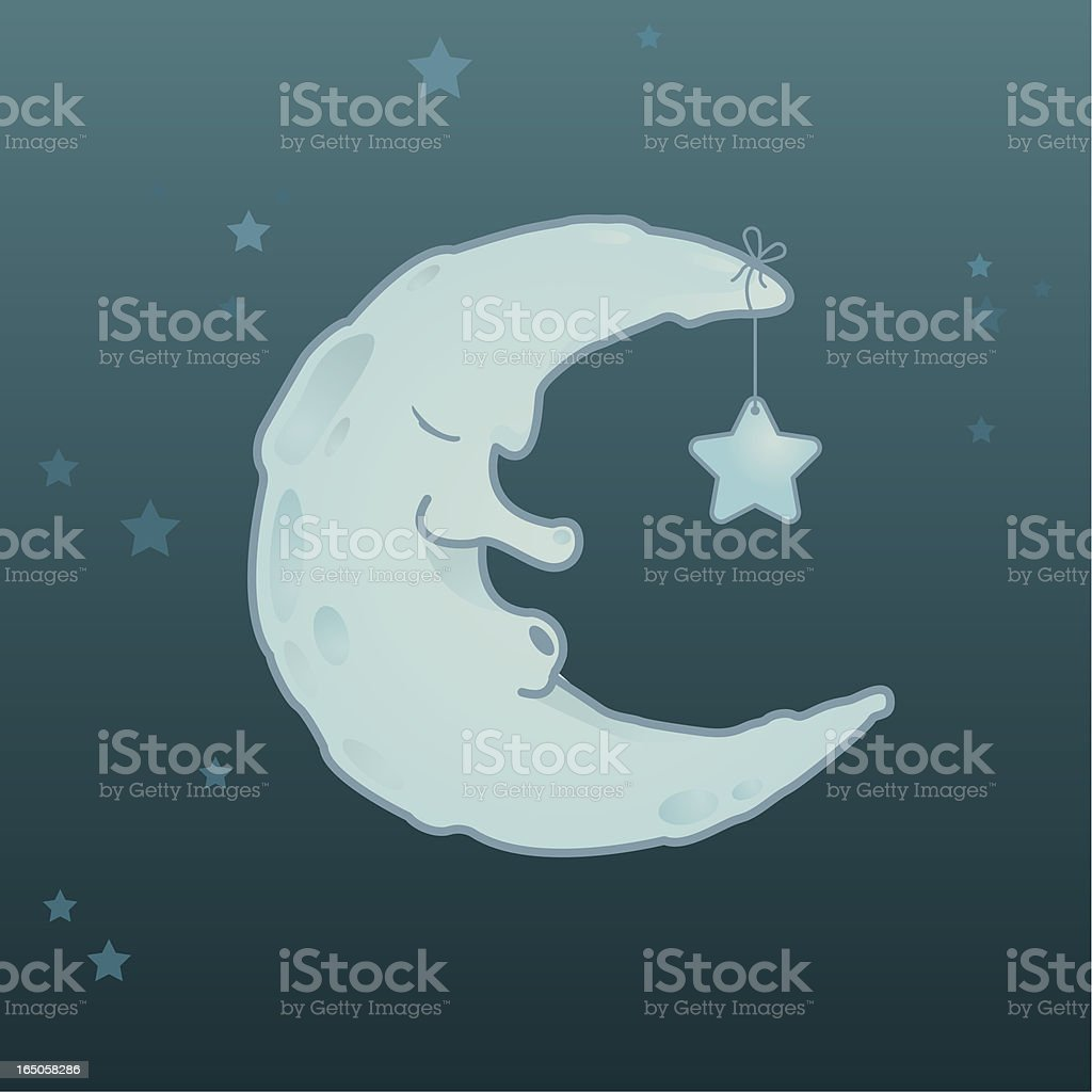 Sleepy Moon royalty-free stock vector art
