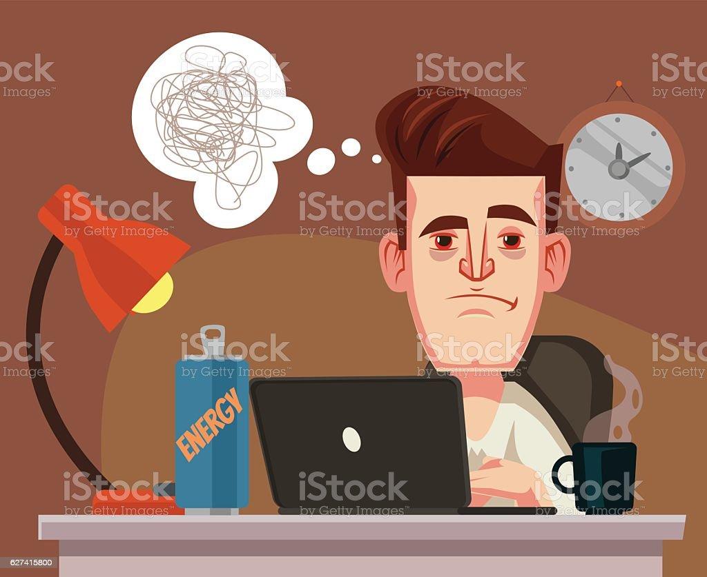Sleepy office worker man character. Vector flat cartoon illustration vector art illustration
