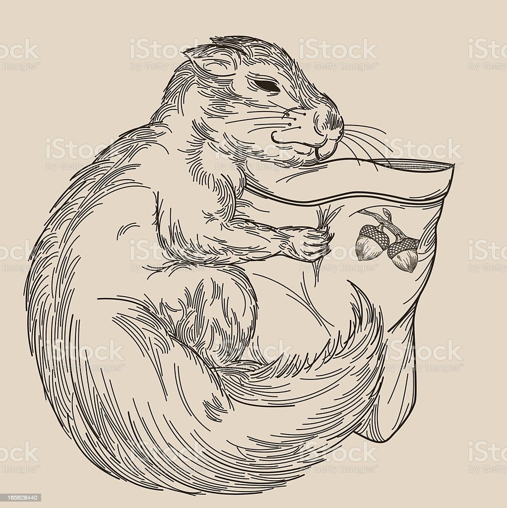 Sleepy Squirrel Cuddling His Pillow royalty-free stock vector art