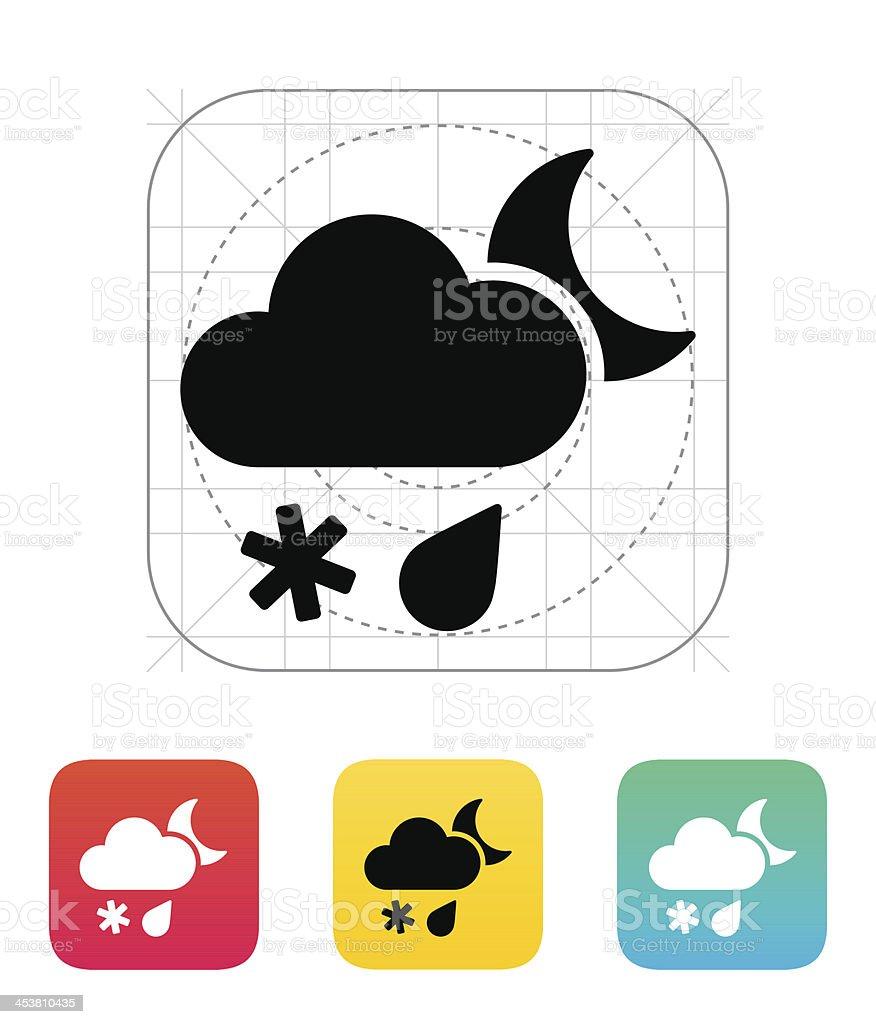 Sleet at night weather icon. royalty-free stock vector art