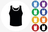 Sleeveless Shirt Icon on Flat Color Circle Buttons
