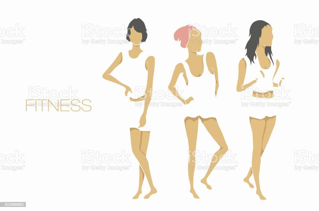 slender shape fitness girls vector art illustration