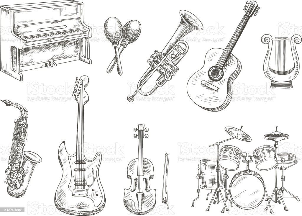 Sletched classic musical instruments set vector art illustration