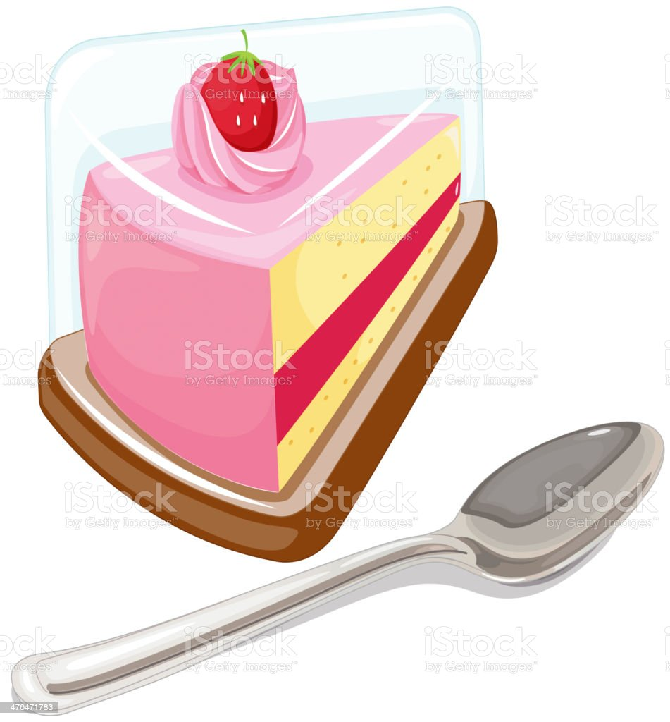 Slice of cake and a tablespoon royalty-free stock vector art