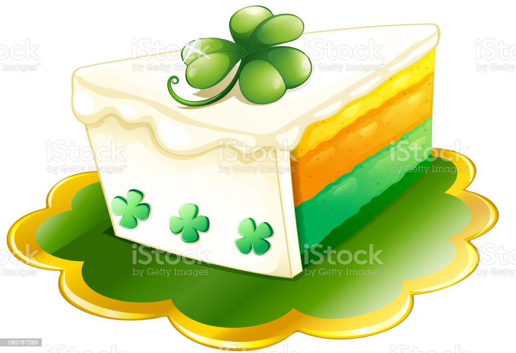 slice of cake for St. Patrick's Day royalty-free stock vector art