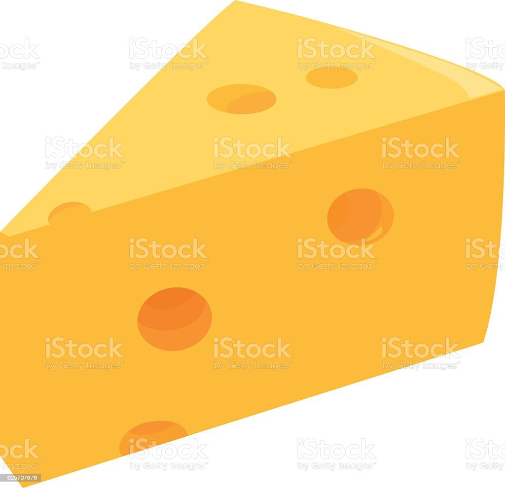 Slice of cheese vector art illustration