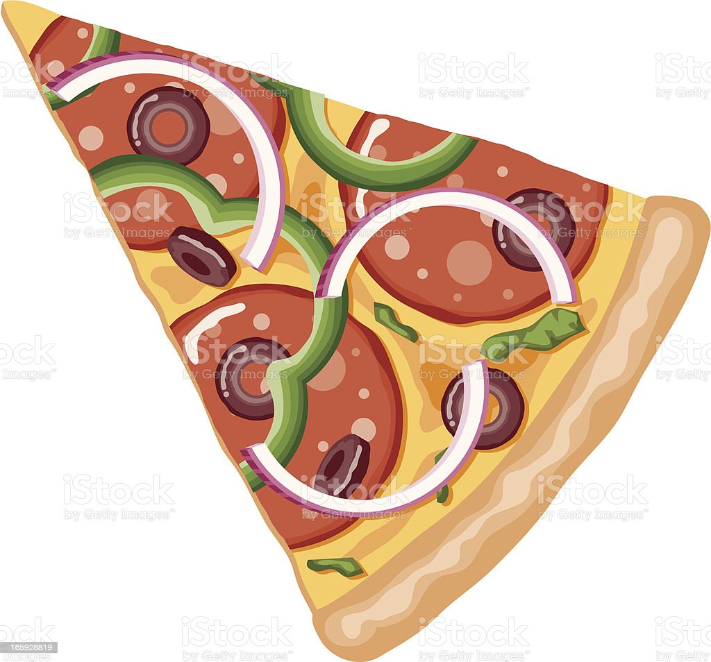 Slice of Deluxe Pizza vector art illustration