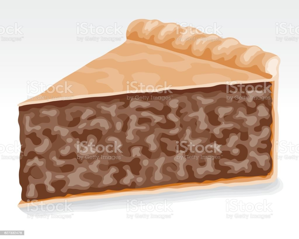 Slice of meat pie vector art illustration