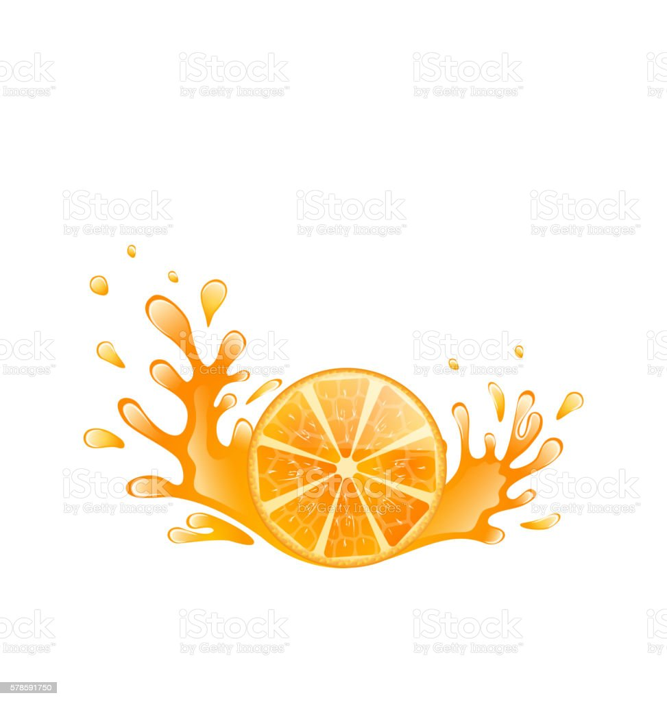 Slice of Orange with Splashing, Isolated on White Background vector art illustration