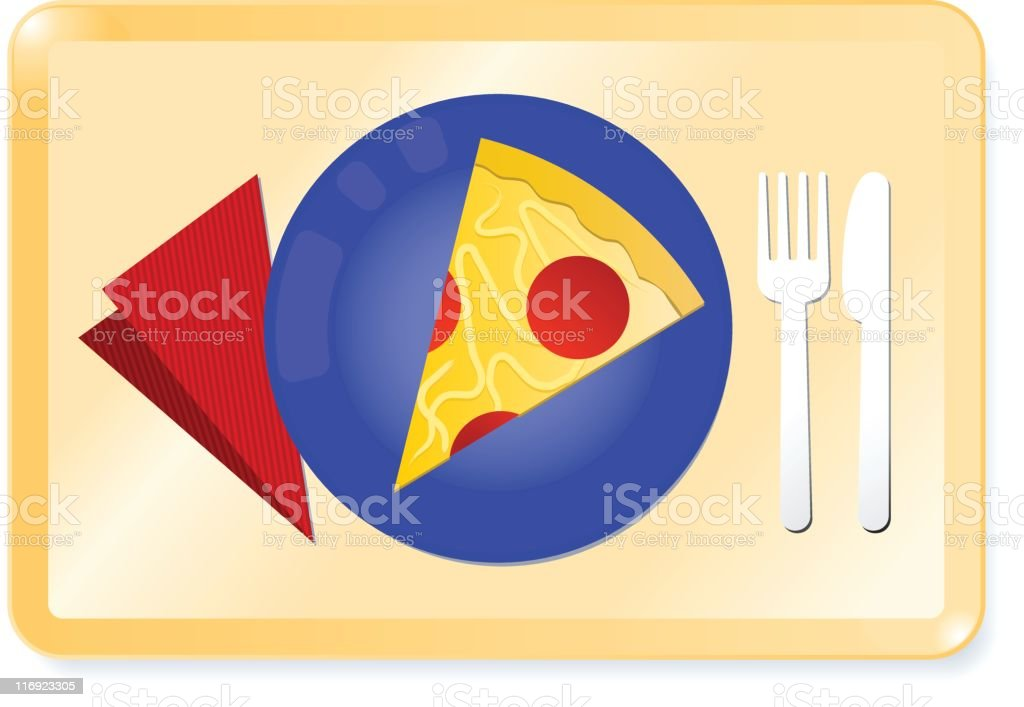 slice of pepperoni pizza on a tray royalty-free stock vector art
