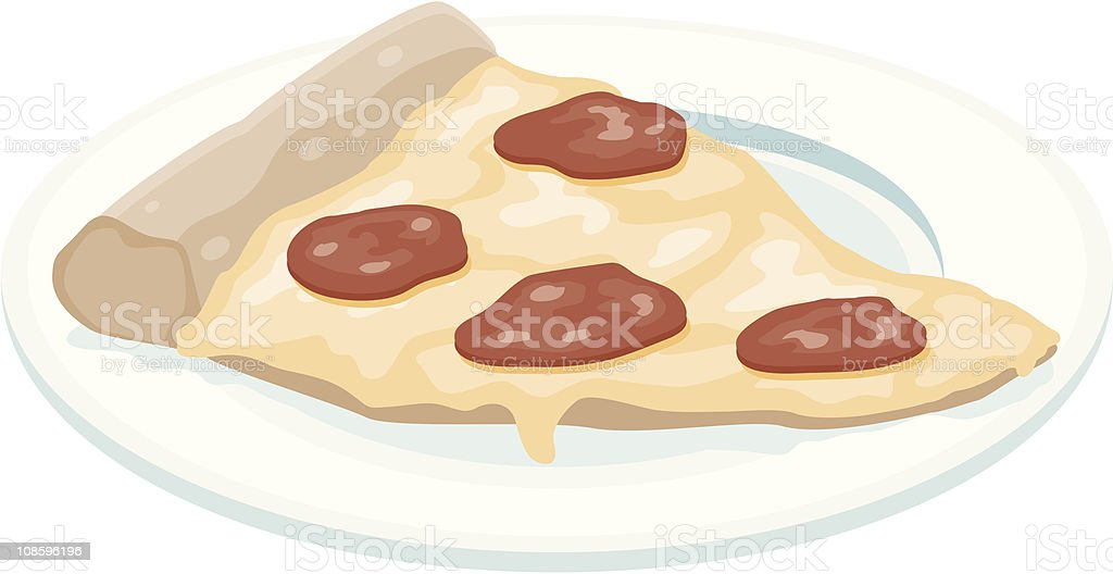 Slice of Pepperoni Pizza vector art illustration