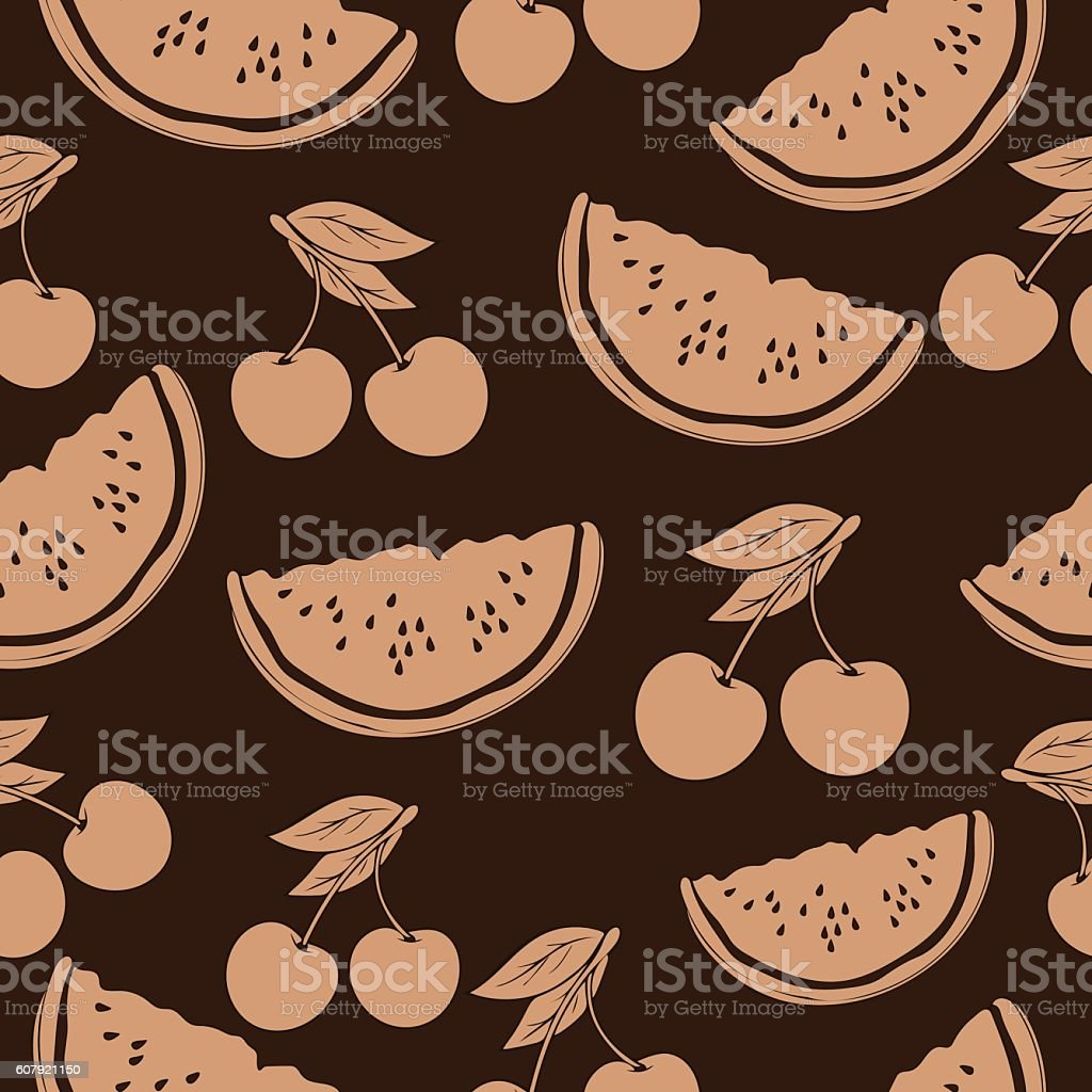 Slice of watermelon and cherry in beige tones, vintage seamless vector art illustration