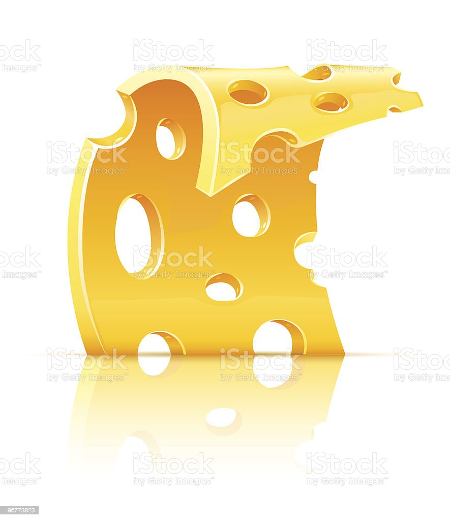 slice of yellow porous cheese food with holes vector art illustration