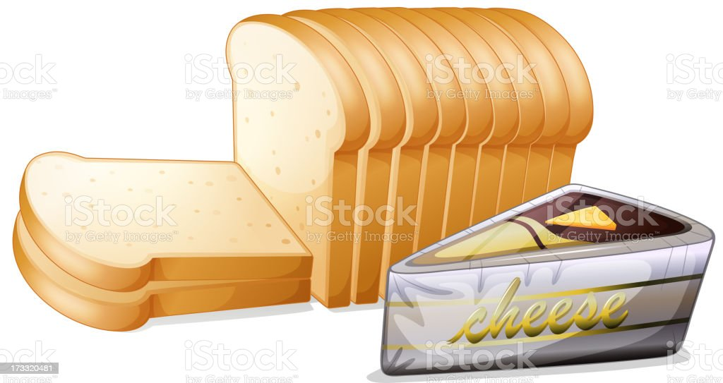 Sliced bread with cheese royalty-free stock vector art