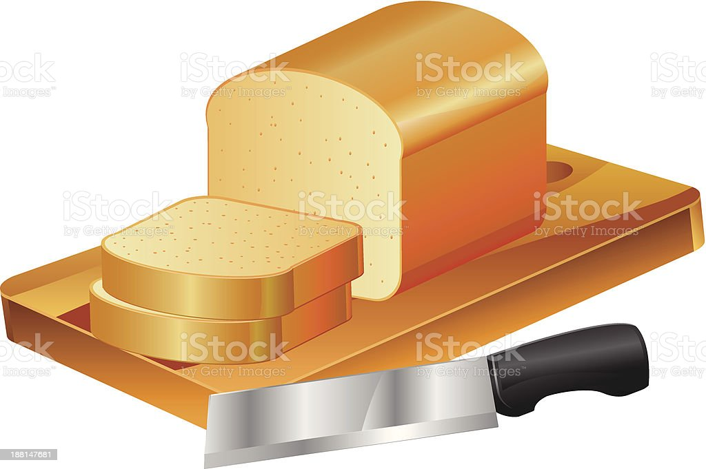 Sliced Bread with Knife vector clipart royalty-free stock vector art