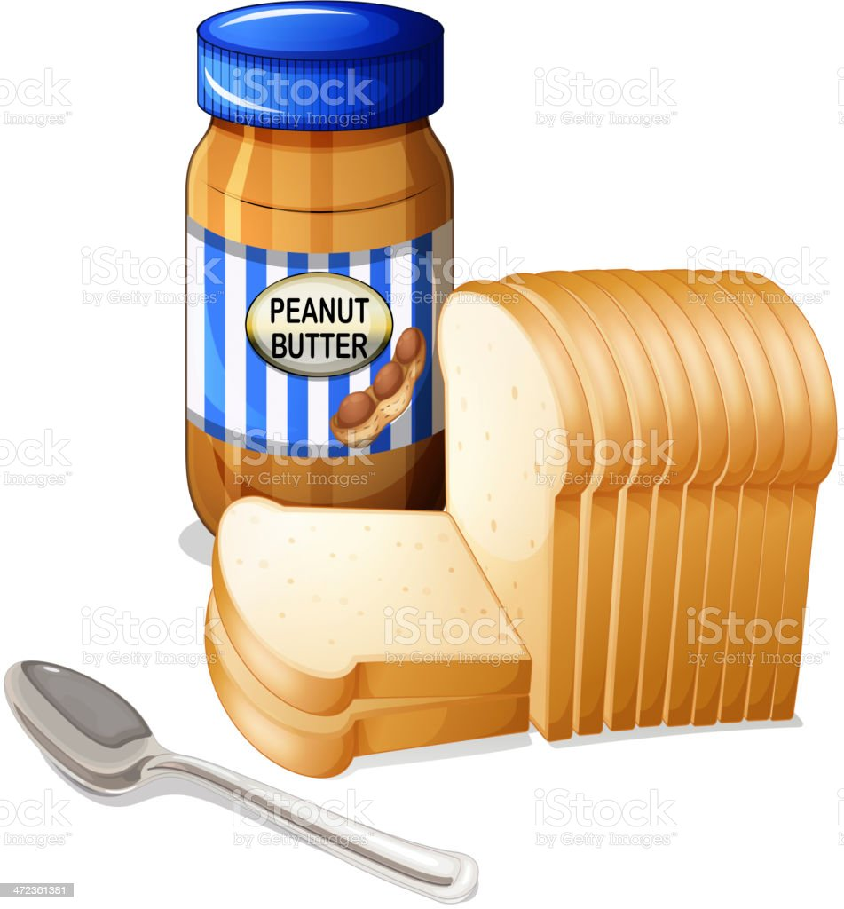 sliced breads and a bottle of peanut butter vector art illustration
