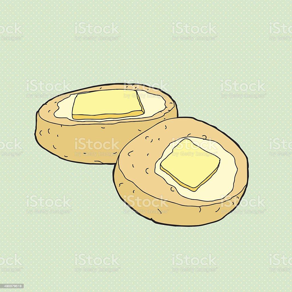 Sliced Buttery Biscuit vector art illustration