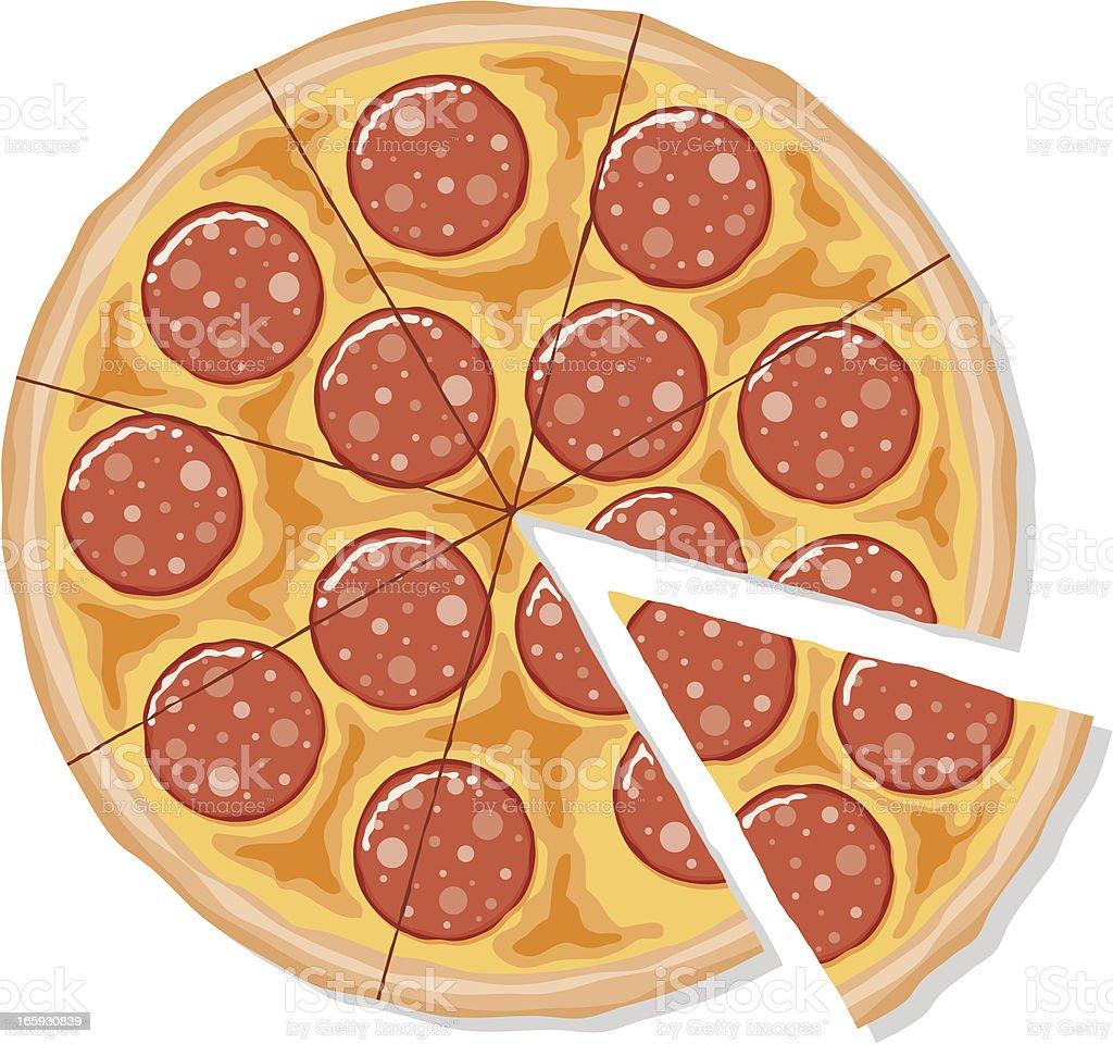 Sliced Pepperoni Pizza vector art illustration