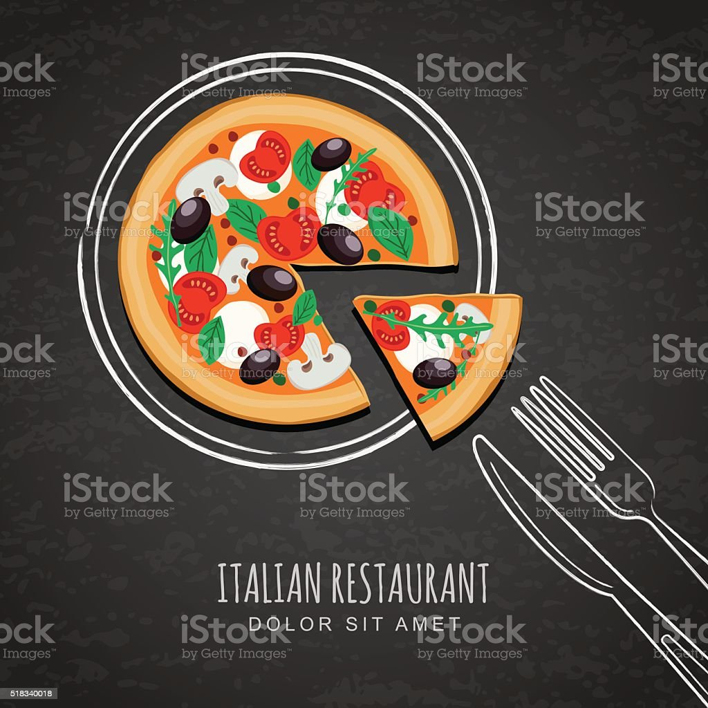 Sliced pizza and hand drawing sketch watercolor plate, fork, knife. vector art illustration