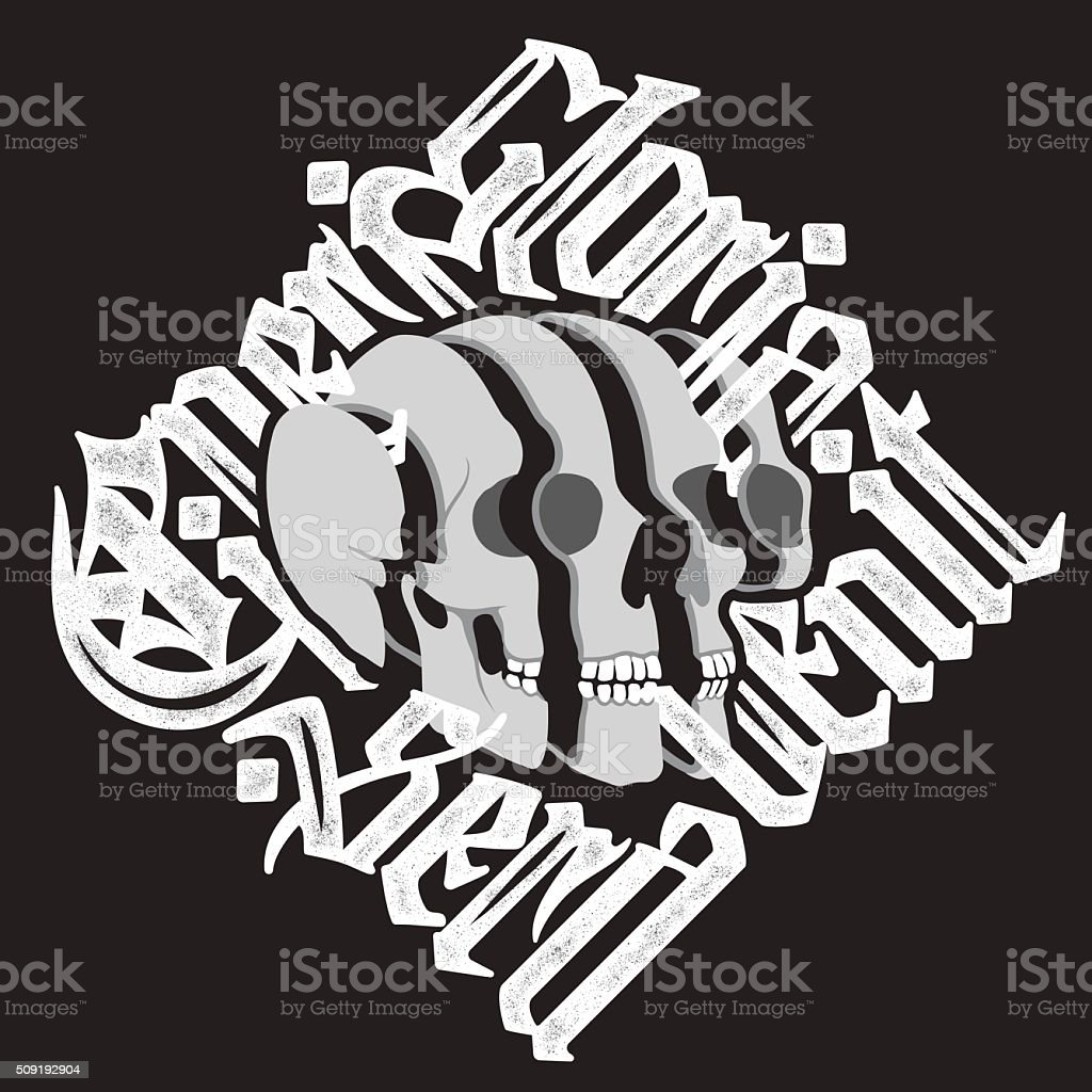 Sliced surreal Skull with gothic lettering vector art illustration