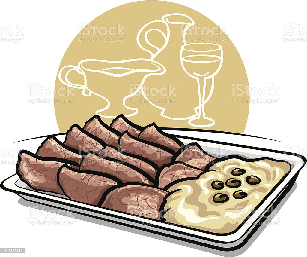 sliced veal with sauce vector art illustration