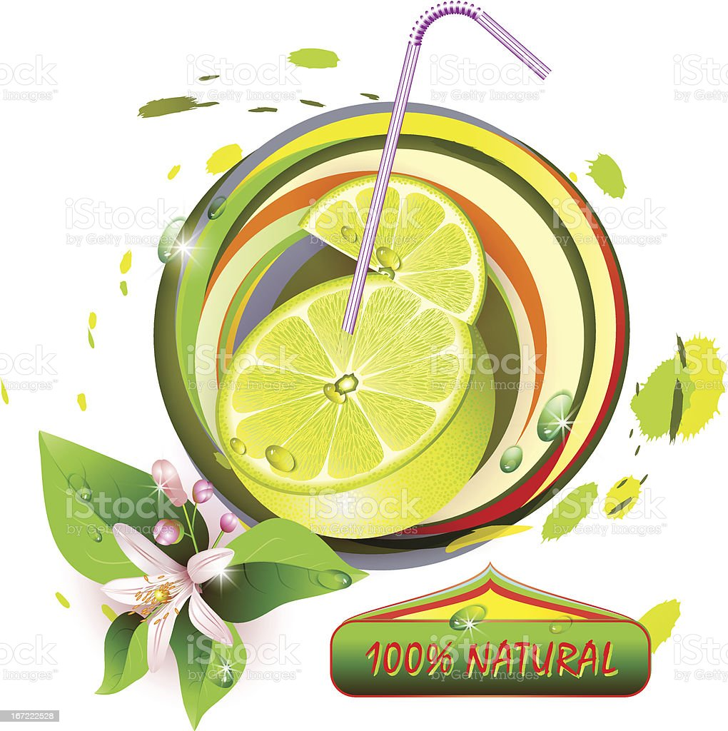 Slices lemon with flowers and straw royalty-free stock vector art