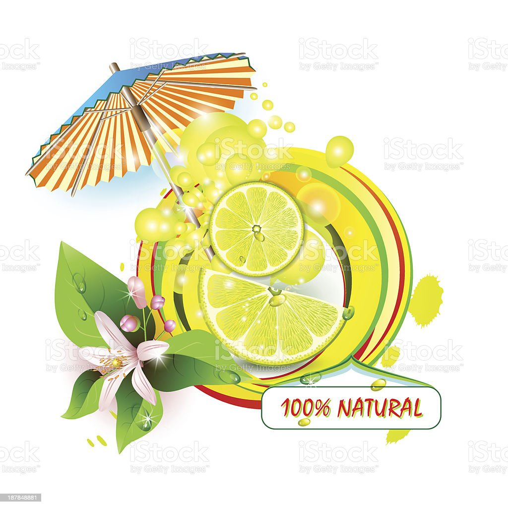 Slices lemon with flowers and umbrella. royalty-free stock vector art