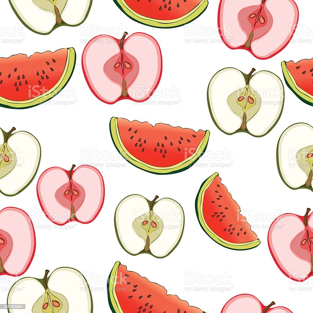 Slices of apples and watermelon seamless pattern, fruit background. Drawing vector art illustration