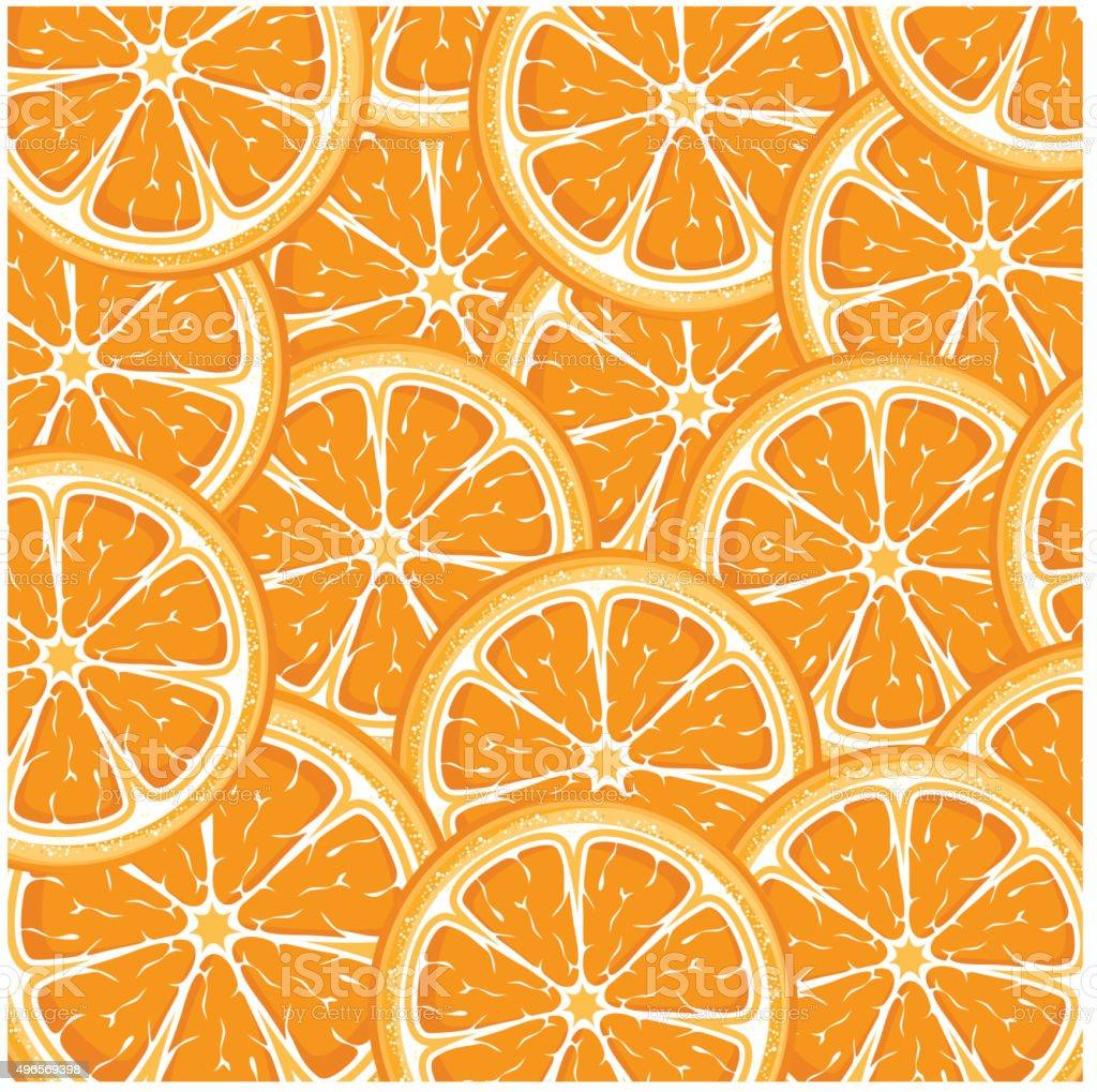 Slices of juicy oranges vector art illustration