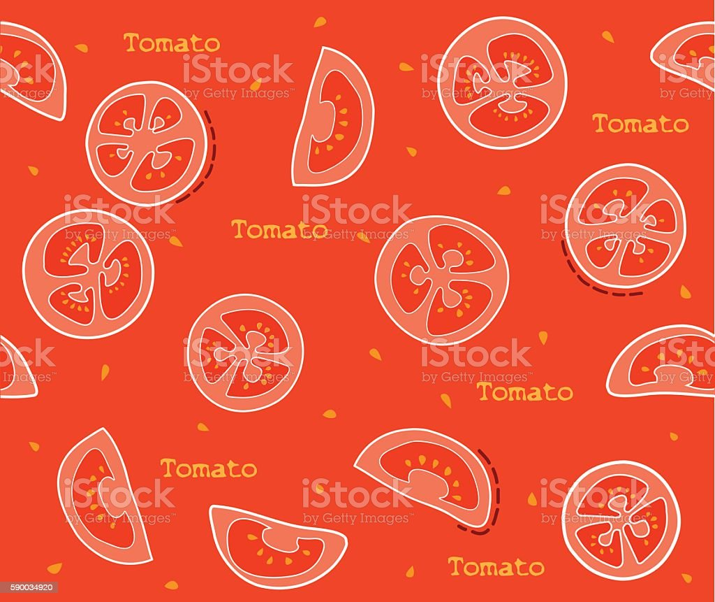 Slices of tomatoes pattern vector art illustration