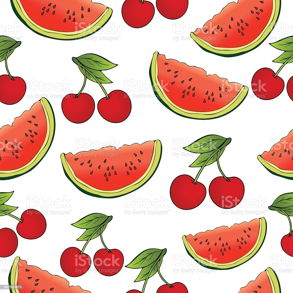 Slices of watermelon and cherries seamless pattern, fruit background. Drawing vector art illustration