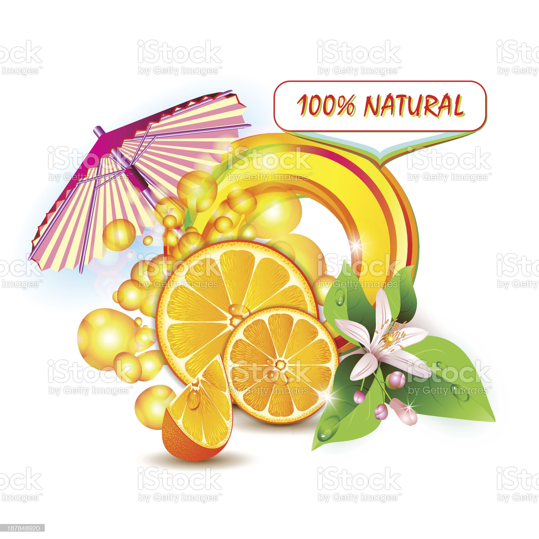 Slices orange with flowers and umbrella royalty-free stock vector art