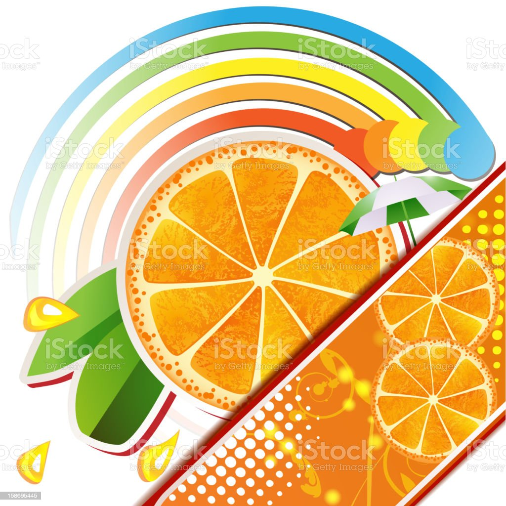 Slices orange with leaves royalty-free stock vector art