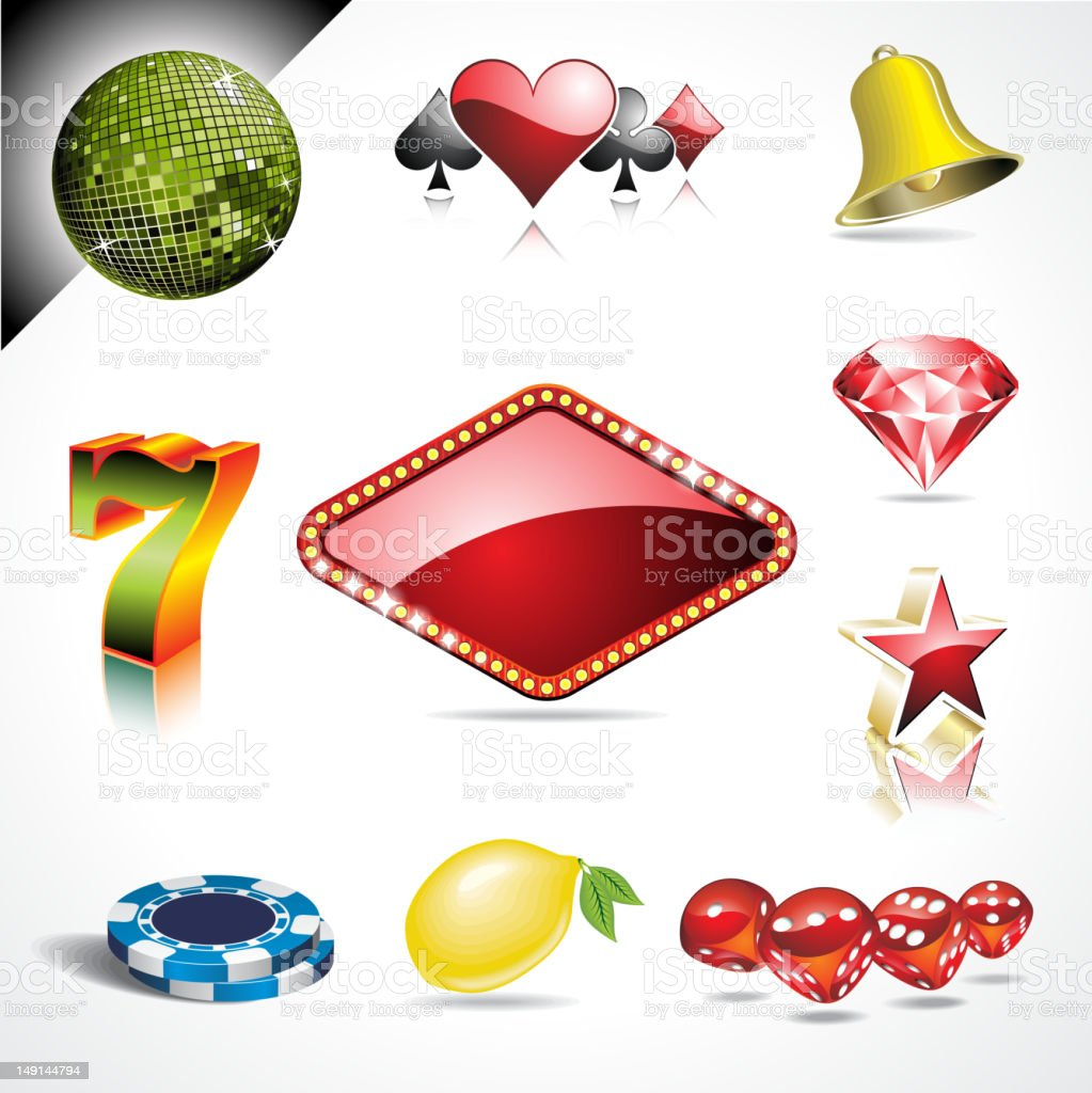 Slick casino gambling icon set with shadows and reflections royalty-free stock vector art